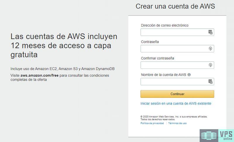 Crear cuenta gratuita en Amazon Web Services (AWS)