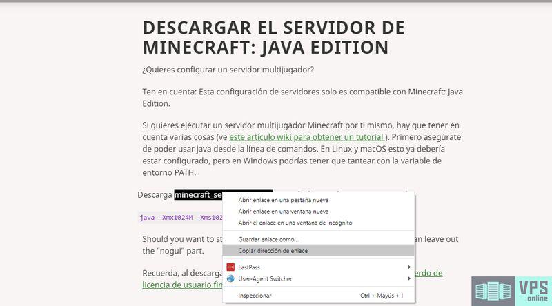 Obtener URL de descarga del archivo  de servidor de Minecraft desde la página oficial