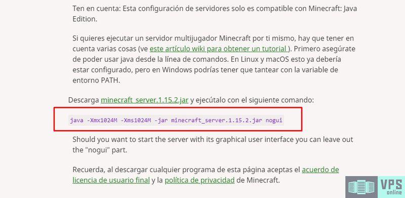 Comando para ejecutar Minecraft Server en Linux